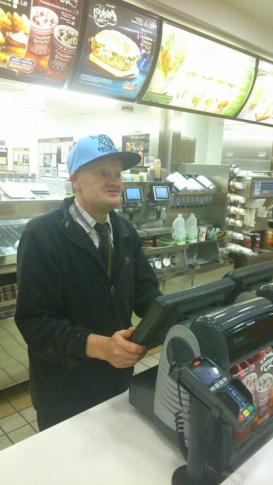 Terry hard at work in McDonalds