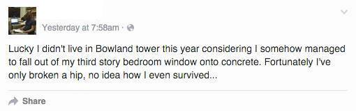 Here is a status update from his Facebook wall (He prefers not to be named).