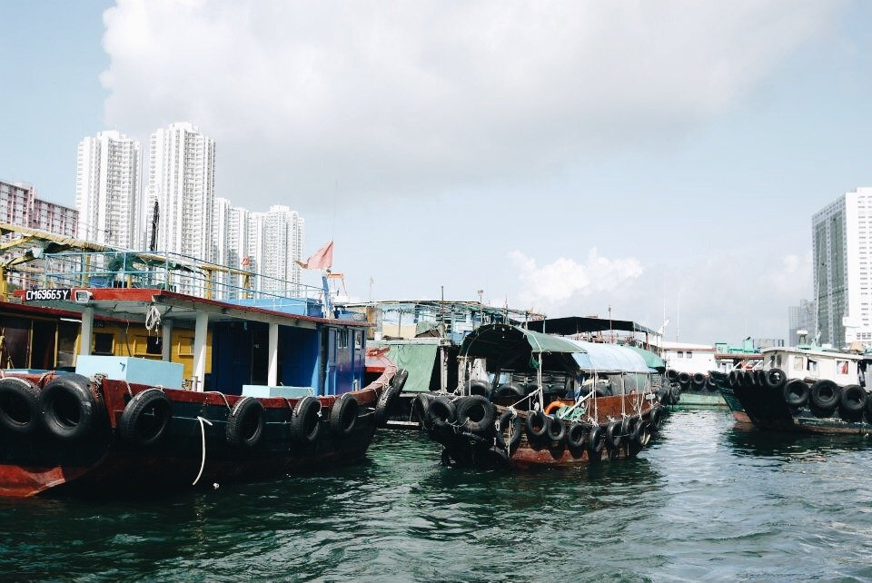"""The """"sampan"""" boats that people take to commute between the Aberdeen harbor in Hong Kong."""