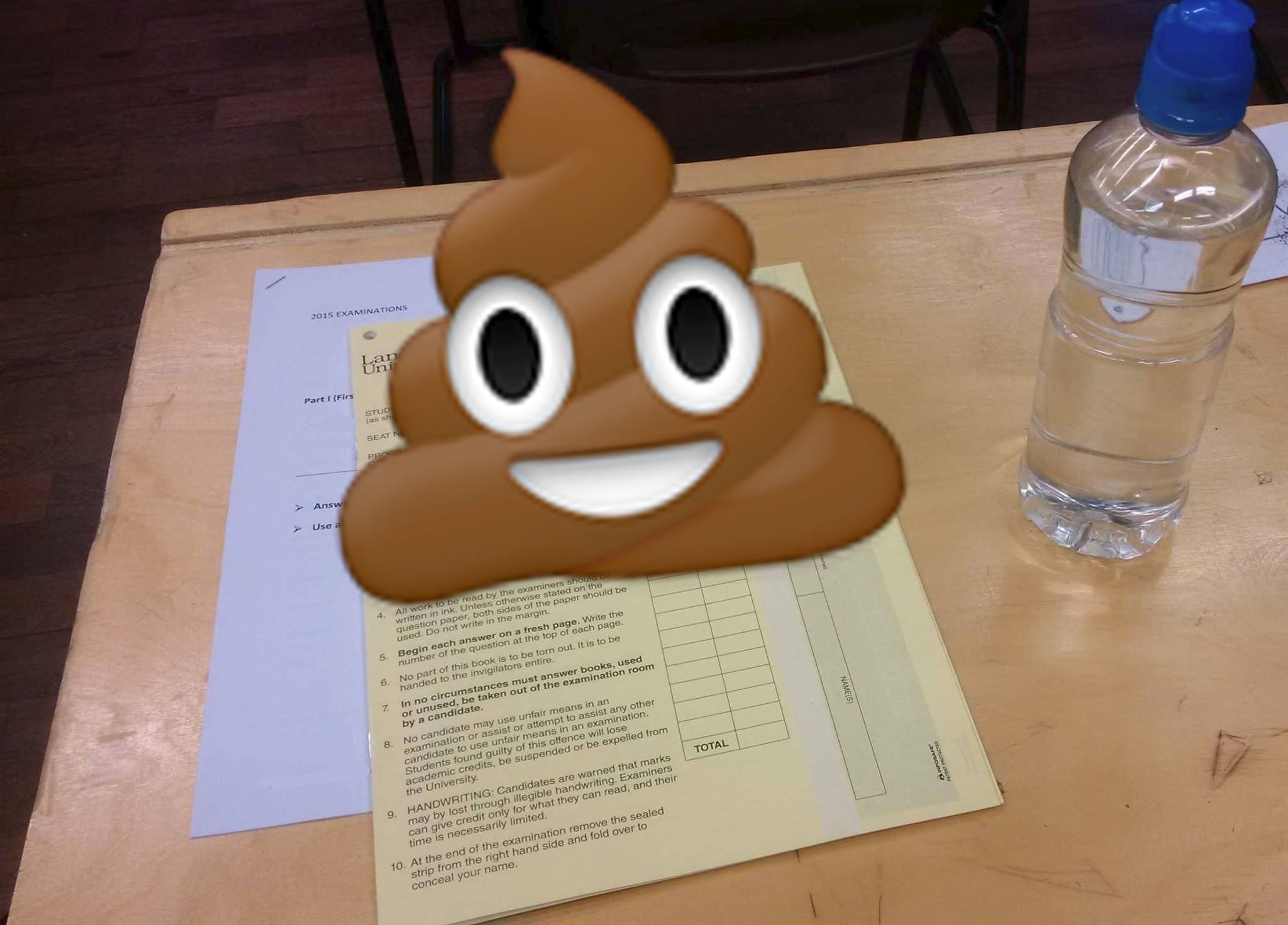 I unsurprisingly don't have many images of exams, so this one has a poo on it