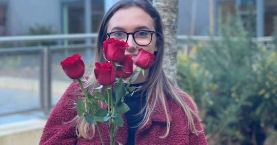 Image may contain: Vegetation, Accessory, Glasses, Accessories, Petal, Face, Apparel, Clothing, Human, Person, Flower, Rose, Plant, Blossom