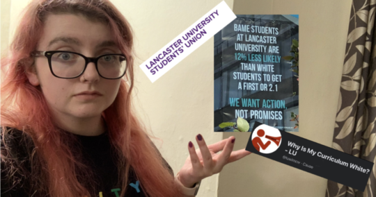Lara is standing on the left with her hand raised, gesturing at the photo of the poster from the LUSU window, the logo of LUSU and the logo of WICMW?.