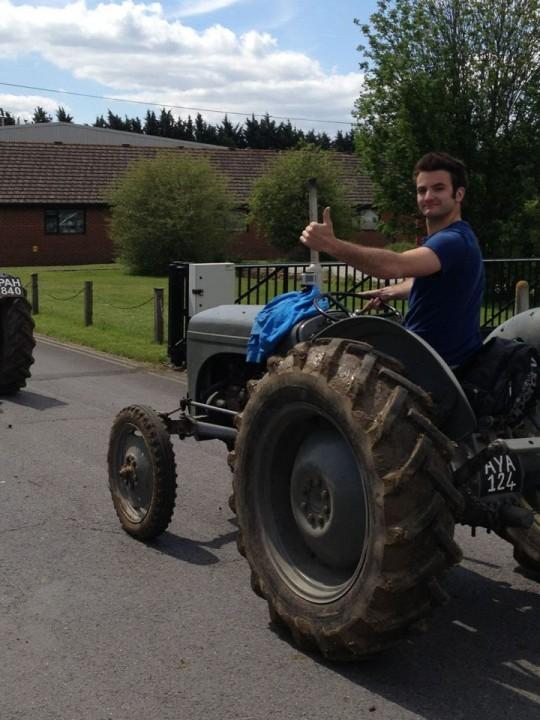 Did I mention he drives tractors, cos he drives tractors