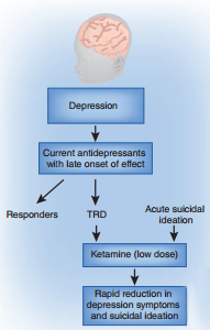 Ketamine can be used both in patients who don't respond to treatment and in those with suicidal tendencies.