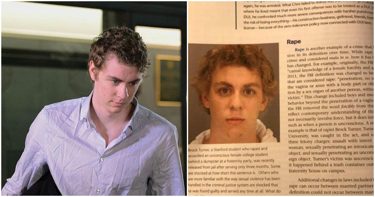 Brock Turner got off easy, but he's now in textbooks next to the literal definition of rape