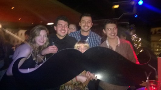 Ryan (second from left) was confronted on a Movember social #moustacheenvy