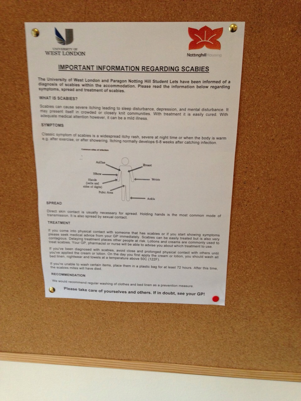 Warnings about scabies are posted all over the complex  in communal areas