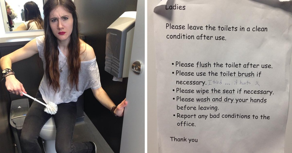 This Arts Tower toilet sign tells girls how to go to the