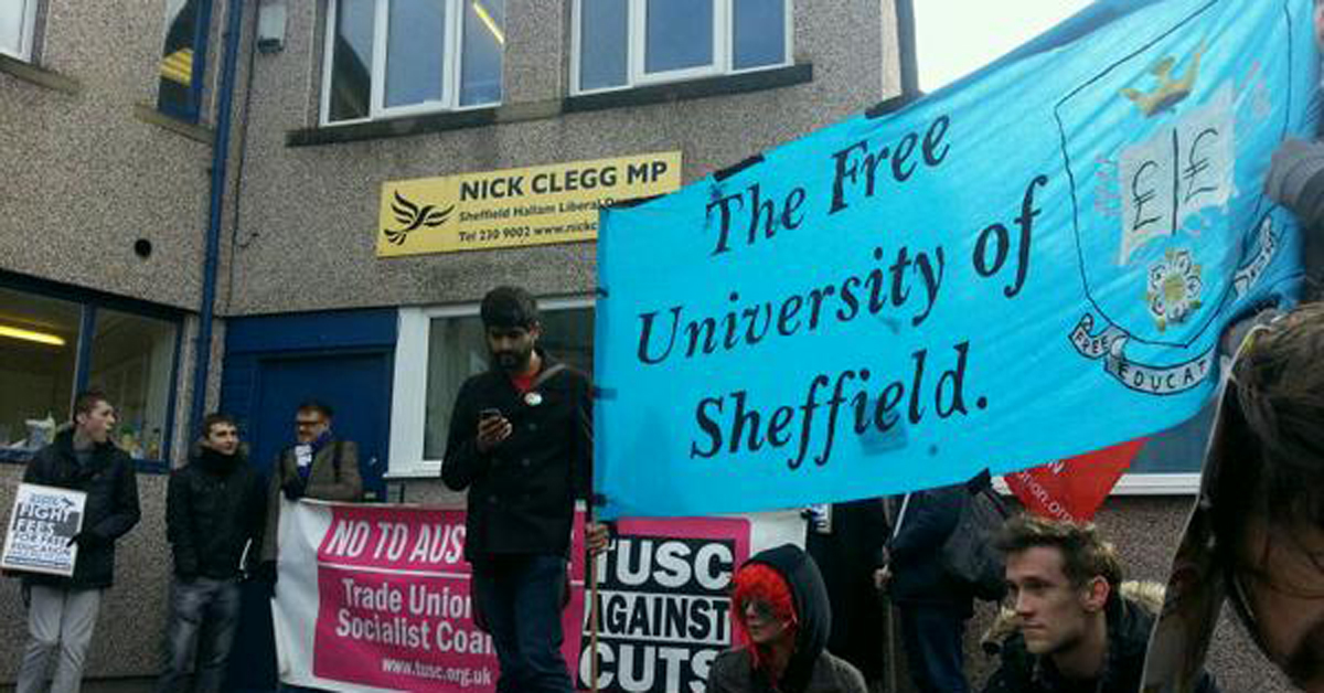 Students occupying Clegg's office at the start of the month