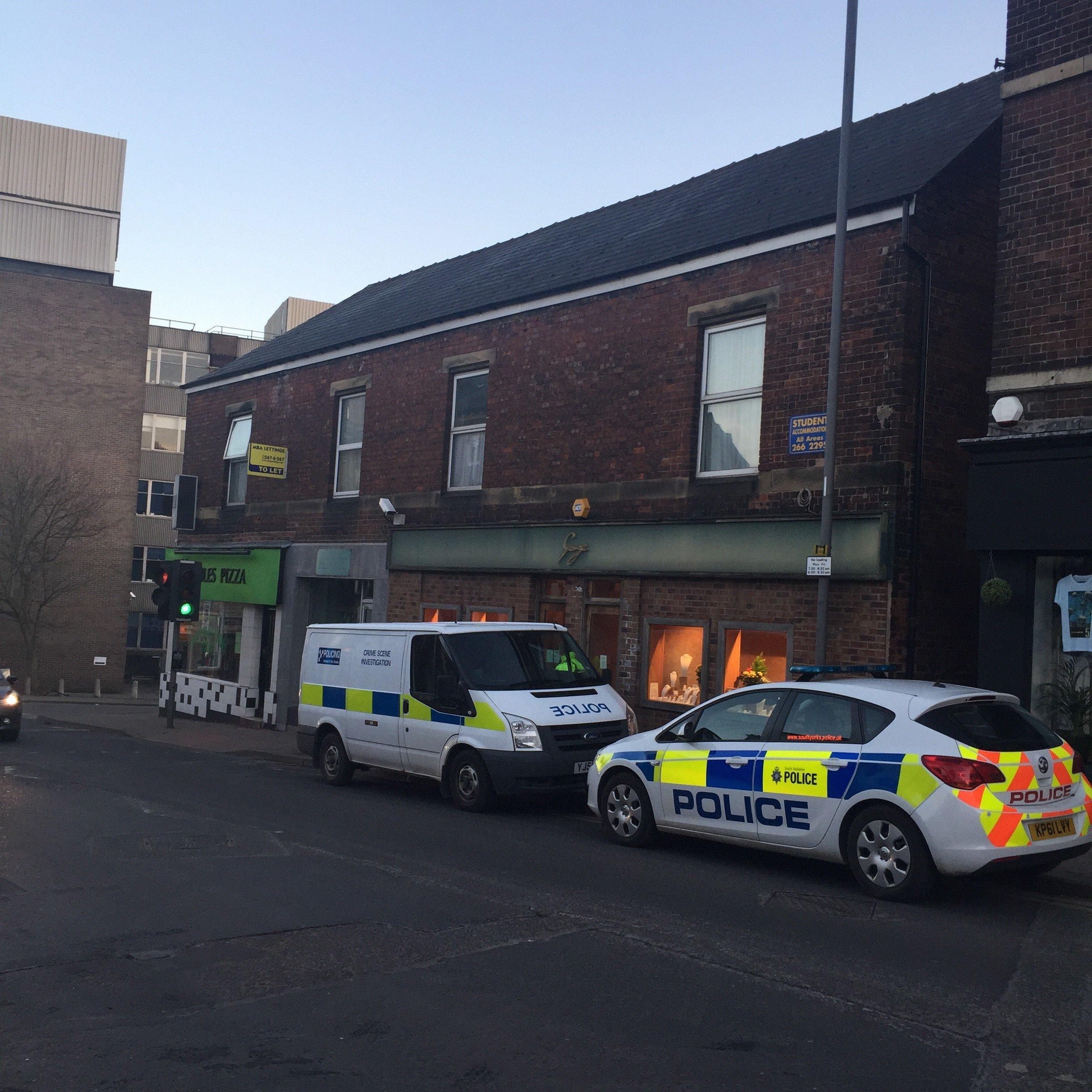 The incident is thought to have happened at George Jewellers, Broomhill