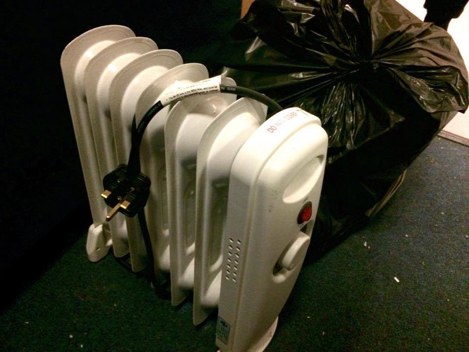 One of the tiny heaters lent to residents affected by the boiler breakdown.