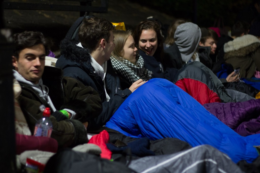 Campers slept in sleeping bags during the Sleepout in Solidarity overnight event.