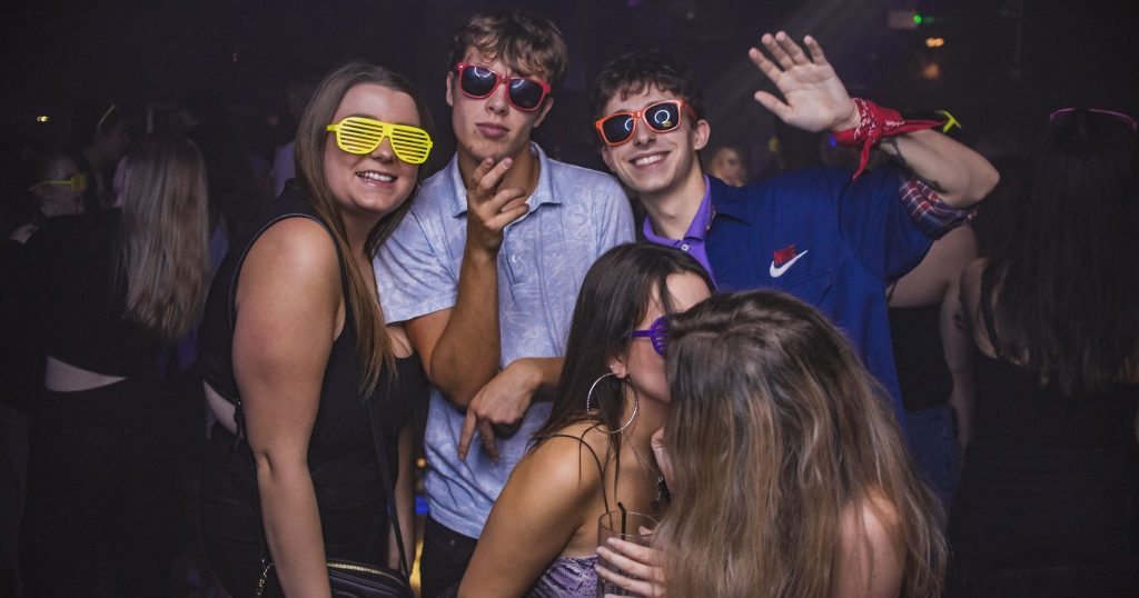 Image may contain: Night Life, Party, Night Club, Club, Sunglasses, Accessory, Accessories, Person, Human