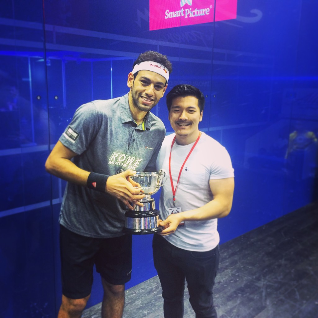Holding the trophy with Mohamed Elshorbagy, absolute gentleman