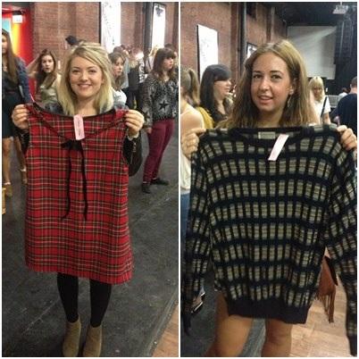 Naomi Shaw, 20, English and drama student – dress from 'Tallula' £20, Lauren Cotton, 20, law student, jumper from 'Tallula' £10.