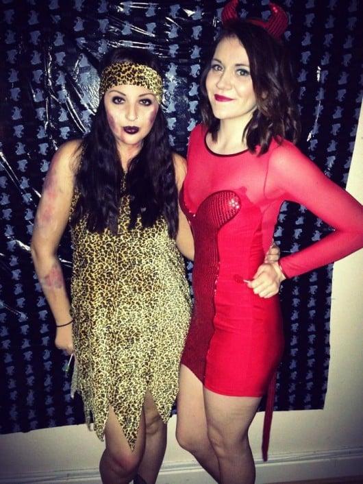 Right Laura as a Zombie cavegirl and Fashion Editor Alex as a devil