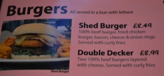 Shed burger on the menu