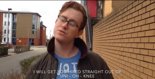 Marcus' campaign video: uni-oh-knee screenshot