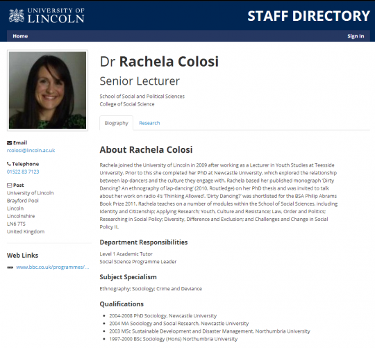 Her staff profile on the Lincoln Uni website