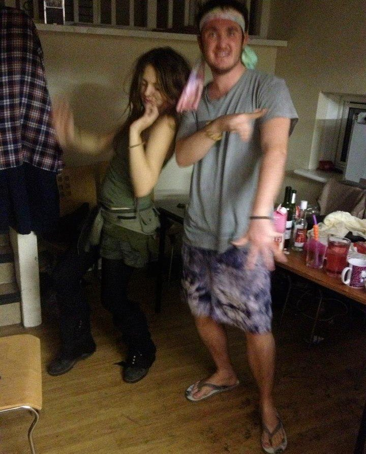A rare sighting of a male and female gap-year rehearsing their tribal rain dance