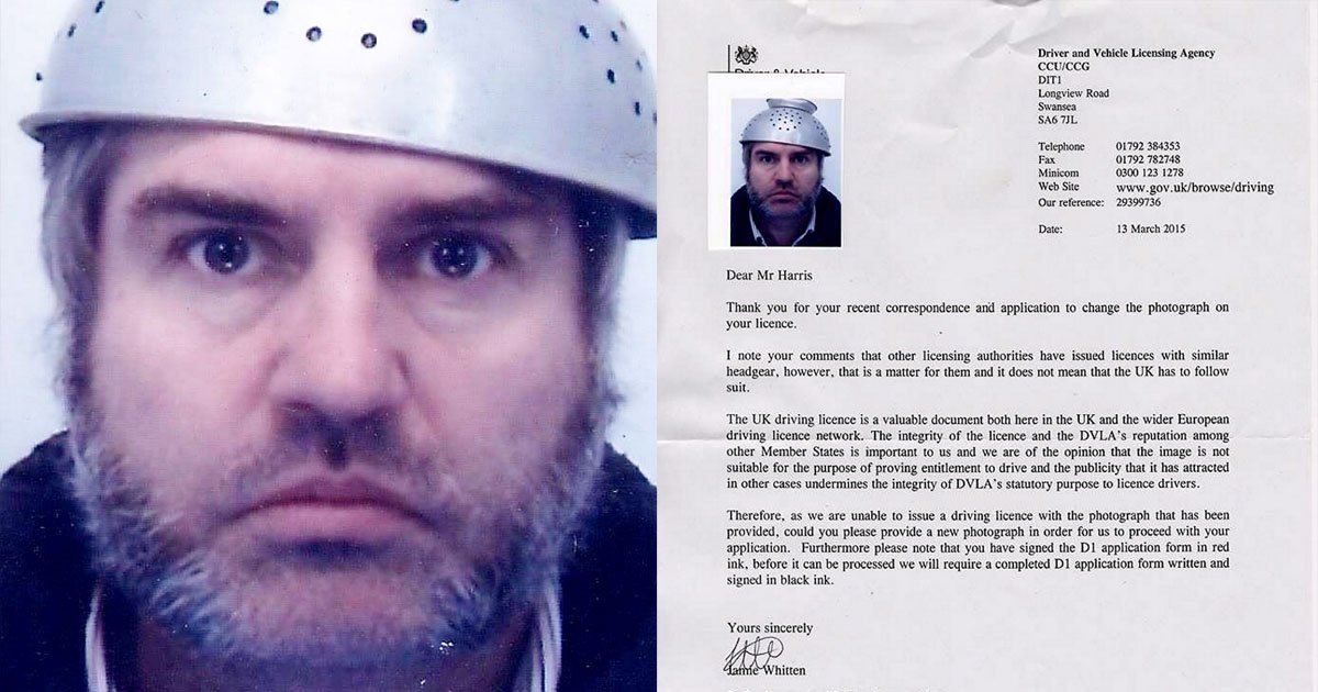 Local man puts a strain on the DVLA by wearing a colander in