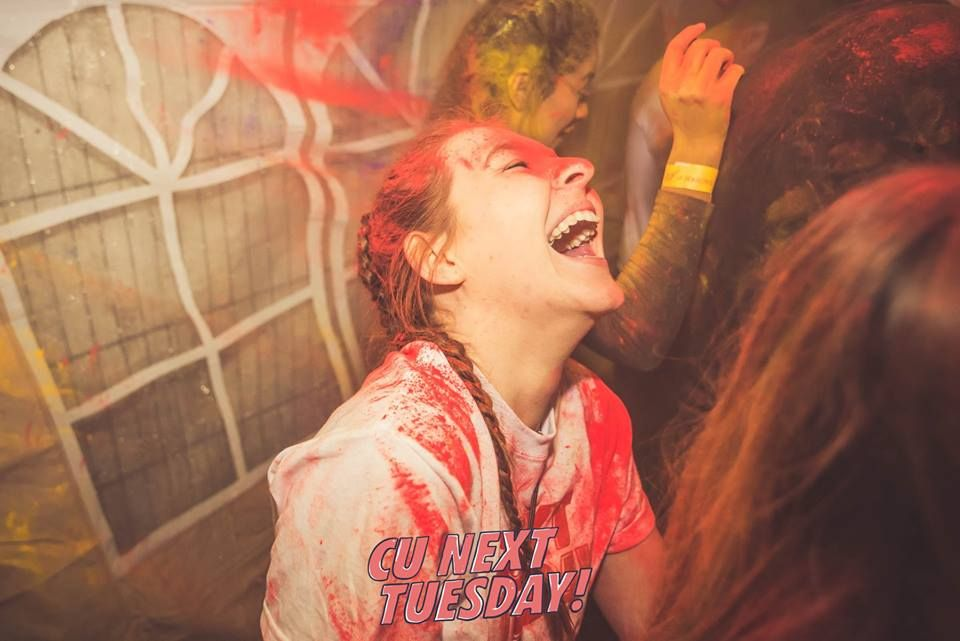 Image may contain: Leisure Activities, Art, Painting, Girl, Laughing, Lighting, Female, Night Club, Party, Club, Face, Human, Person