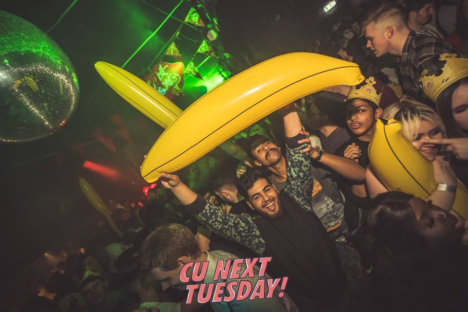 Image may contain: Clothing, Apparel, Helmet, Poster, Brochure, Advertisement, Paper, Flyer, Face, Banana, Fruit, Food, Plant, Night Club, Party, Club, Human, Person
