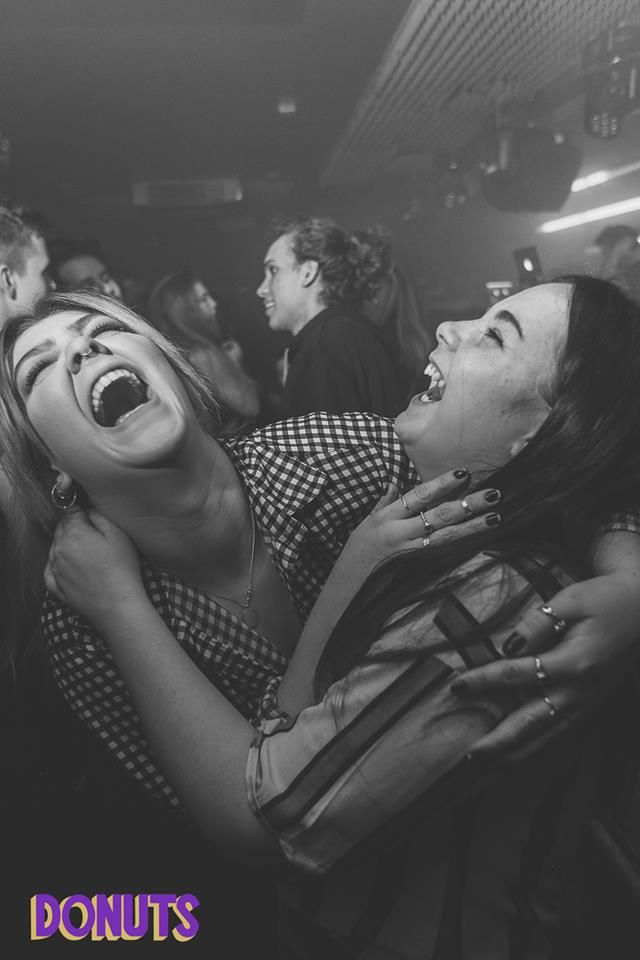 Image may contain: Night Club, Laughing, Photo, Portrait, Photography, Smile, Female, Club, Party, Face, Human, Person