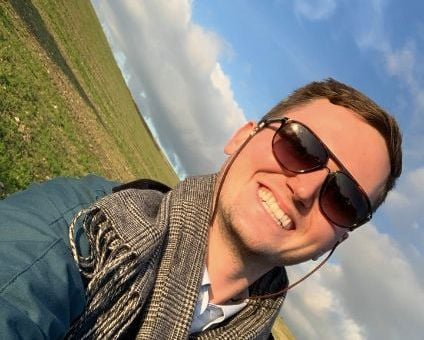 Image may contain: Field, Selfie, Man, Cloud, Grass, Plant, Photo, Portrait, Photography, Head, Sky, Glasses, Nature, Outdoors, Clothing, Apparel, Smile, Accessory, Accessories, Sunglasses, Person, Face, Human