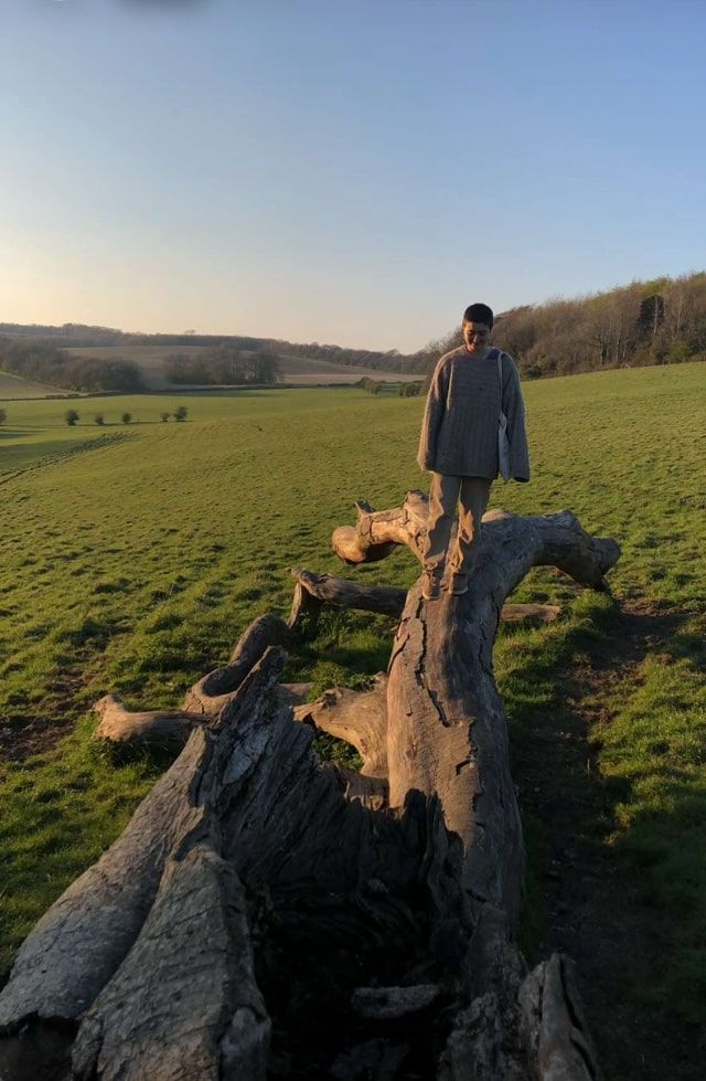 Image may contain: Rock, Scenery, Countryside, Coat, Landscape, Wood, Grassland, Field, Nature, Outdoors, Plant, Grass, Clothing, Apparel, Human, Person