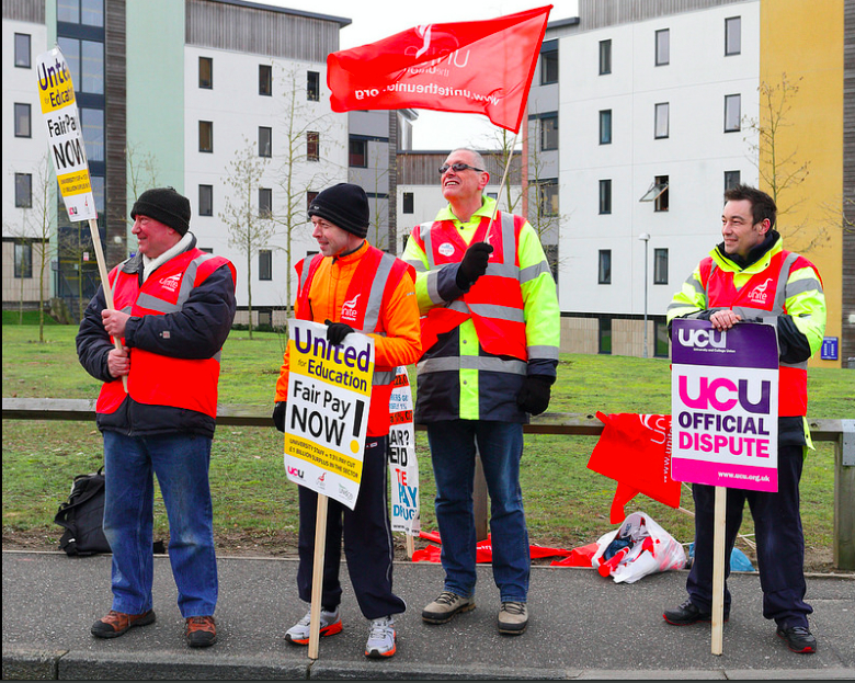 Pay strikes at East Anglia University.