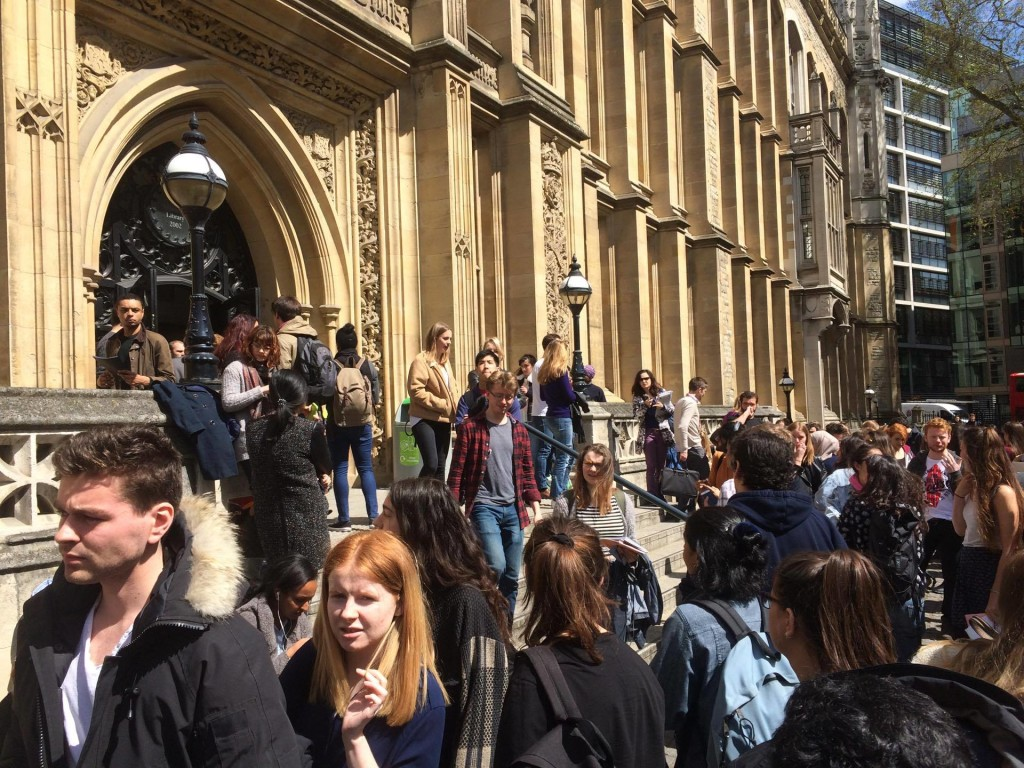 Hundreds of students spilled out of the building.