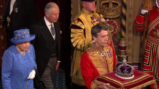 The Queen was accompanied by the Prince of Wales and the jewels