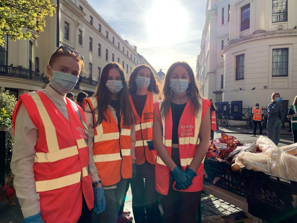 Kings Students volunteering with Charity Begins @ Home