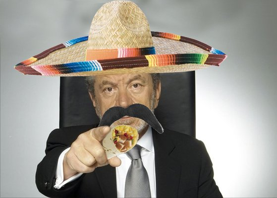 An artist's impression of how Lord Sugar would look eating one of Tim's burritos