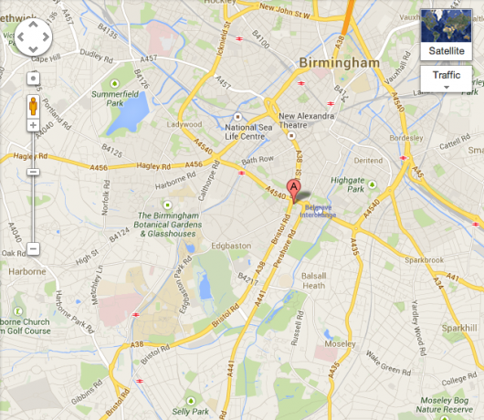Google maps showing the location of Opal 1, 2.5 miles from campus.