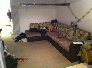 The sofa where two of the girls were held at knifepoint