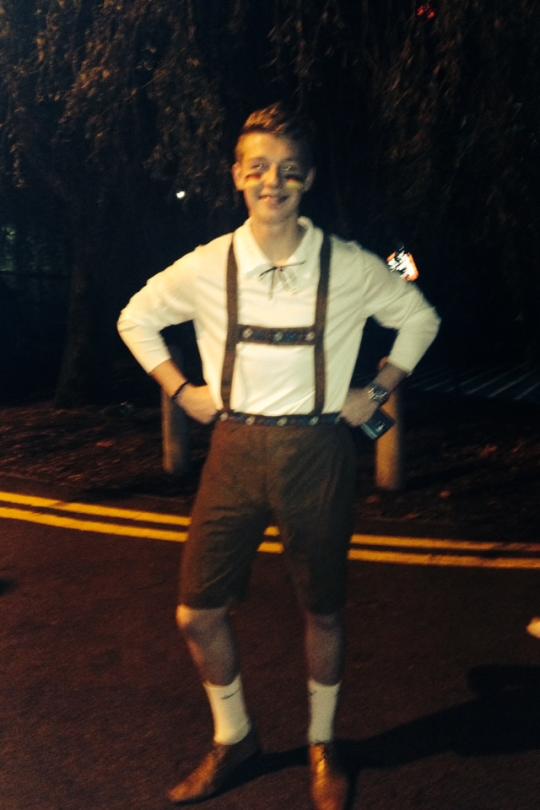 Louis Holland studies German and was loving his lederhosen!