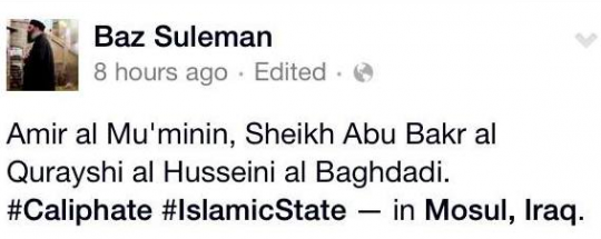 Shabazz is believed to have been in Mosul, Iraq to observe a speech given by IS leader Abu Bakr al-Baghdadi