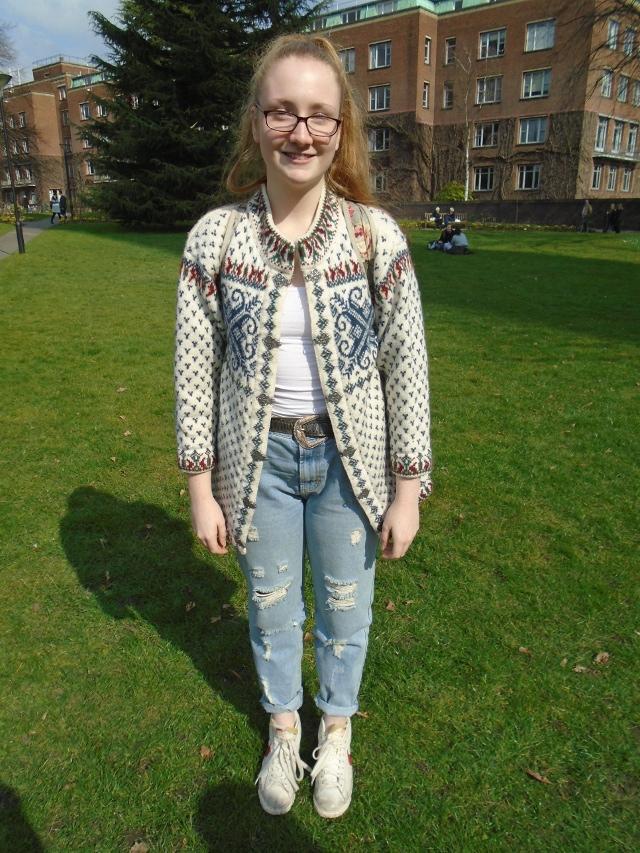 Claire Przybylak, International Business with Spanish,  vintage shop cardigan