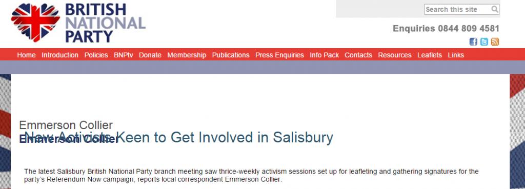 A BNP webpage confirms Emmerson's involvement