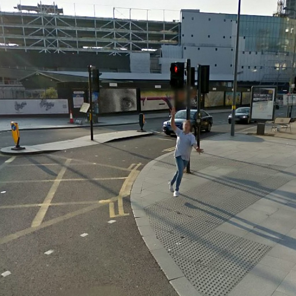 A sales manager has been left red-faced after he was captured on Google Street View drunkenly chasing a car through a city centre.  See NTI story NTIDRUNK.  Sozzled Luke Beer, 23, had been out with friends when they spotted the vehicle after stumbling out of a casino in Birmingham at 6am.  Comical images on Google maps shows the aptly-named joker being carried by two pals before he stands up and chases after the Google Street View car.  He narrowly avoids being hit by taxis as he sprints behind the specially adapted vehicle along Hill Street with his arms flailing before eventually giving up.  Footage of the hapless chase has been uploaded to social media where it has been liked and shared thousands of times.  Yesterday (Thur), mortified Luke, of Sutton Coldfield, West Mids., said he only recently realised he had been snapped by the car after the drunken antics in May last year.