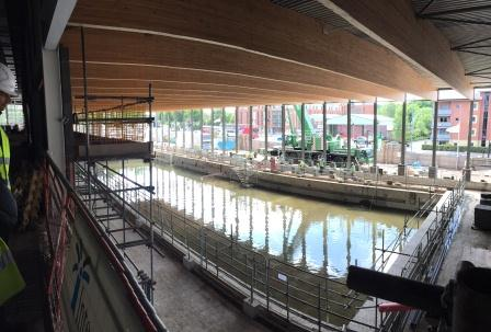 The new 50m pool being filled with water to undergo testing