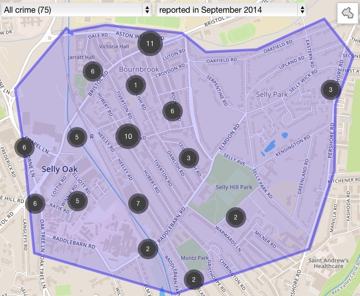 Crime counts in different areas of Selly Oak during Sept '14.
