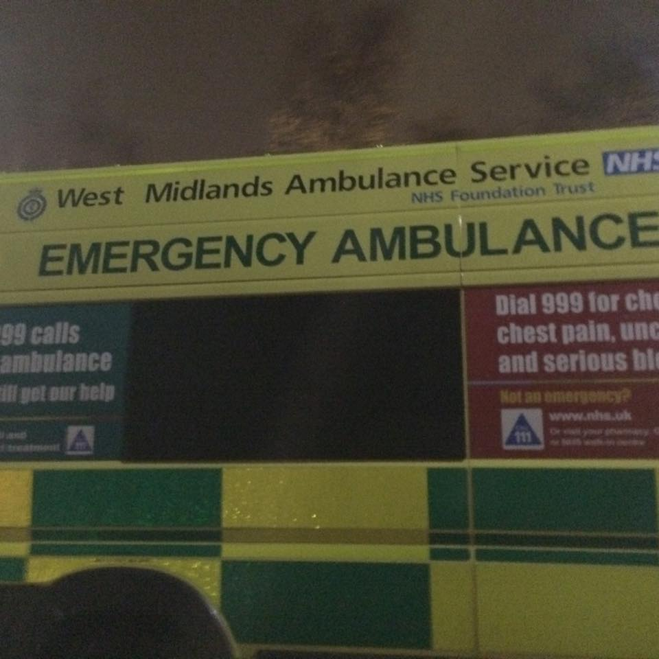 Ambulance by Frankie & Benny's.