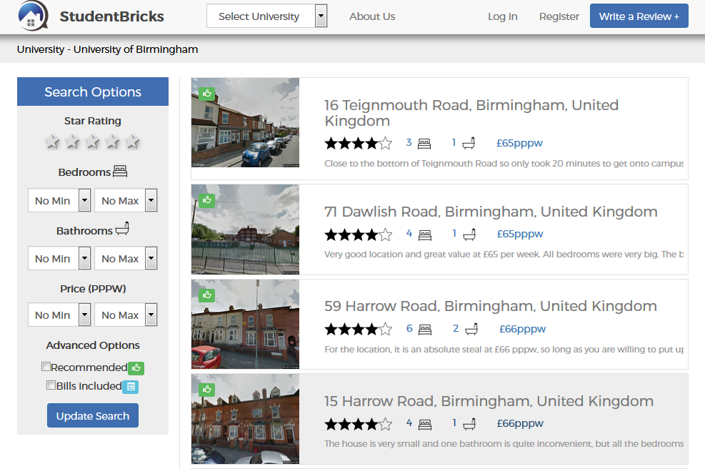 The site allows you to narrow down your search for houses
