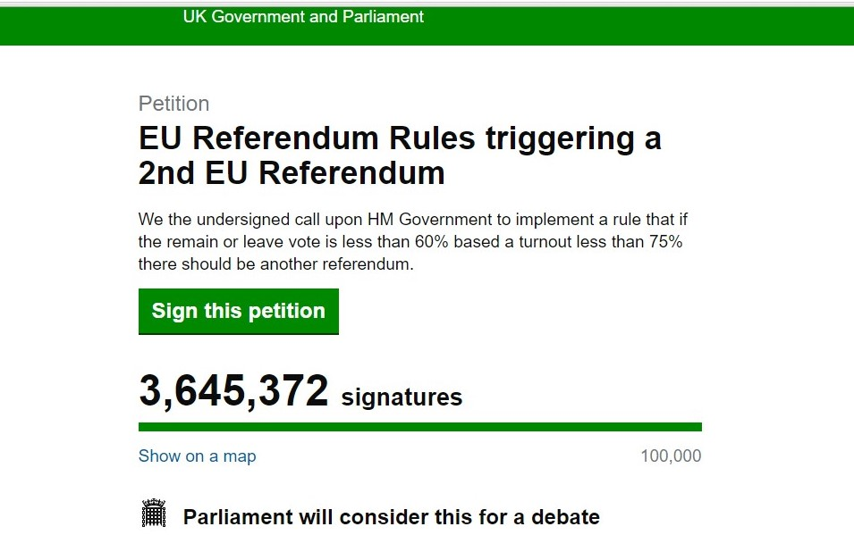 The number of signatures since Friday