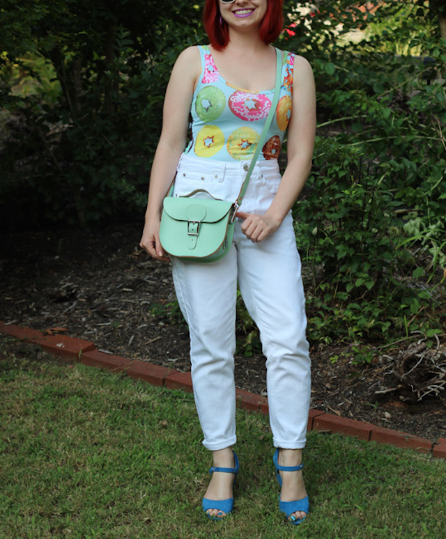 Pastel_Donut_Print_Bodysuit,_White_Jeans,_a_Mint_Green_Satchel_and_Blue_Wedges