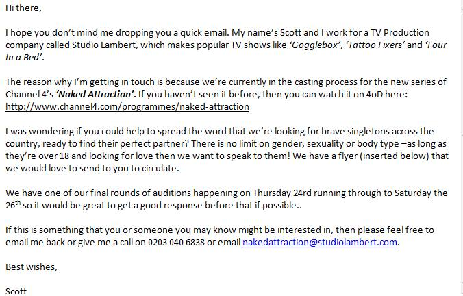 I went on Channel 4s Naked Attraction - getting your junk