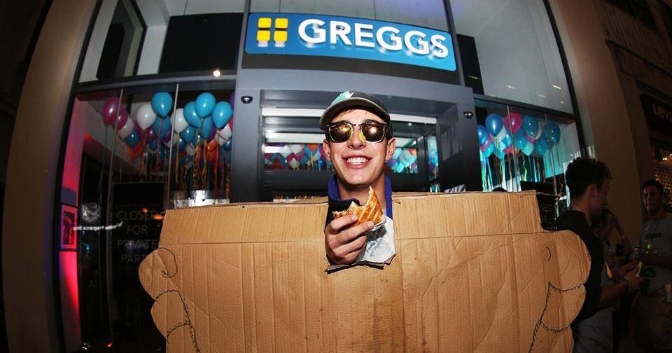 Introducing the no. 1 Greggs fan who brought a cardboard pasty with him…